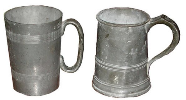 # 3216 Pair of Pewter Mugs