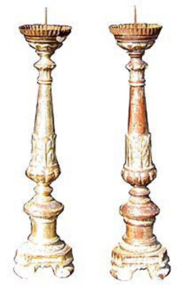 # 3804 Pair of Carved Candlesticks