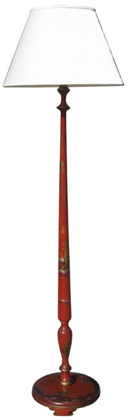 # 4518 Red Chinoiserie Floor Lamp