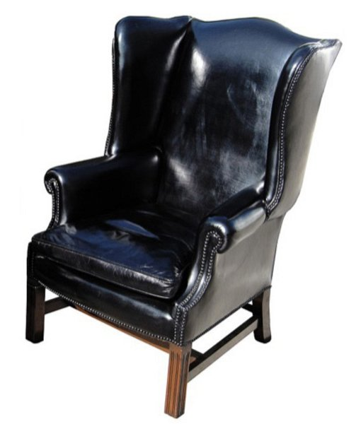 # 4064 Black Leather Wingback Chair