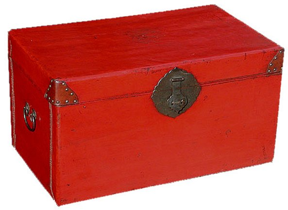 # 3178 Red Leather Trunk
