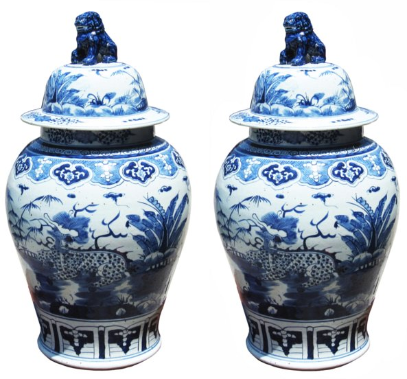 # 4917 Pair of Blue and White Jars with Lids