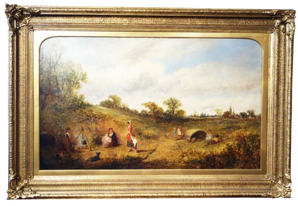 # 1747 Rustic Landscape with Figures by James Edwin Meadows (1828-1888)
