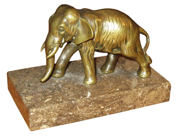 # 4698 Bronze Elephant on Marble Base