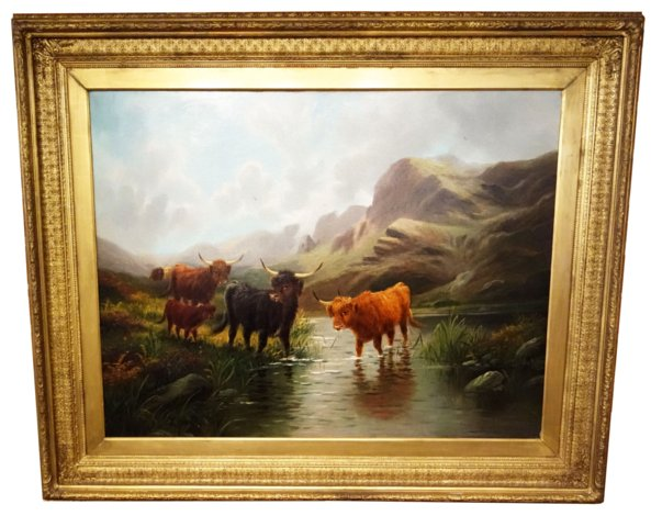 # 1750 Scottish Landscape with Highland Cattles by E. Heaton
