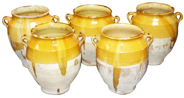 # 5233 Yellow/Green Confit Pot with Handles