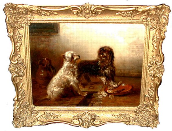# 2427 Pair of Dog Paintings by Emmanuel Noterman (1808-1863) (Showing Share a meal)