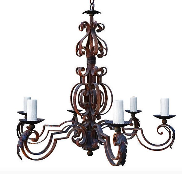 # 5236 Six-Light Wrought Iron Chandelier (wired)