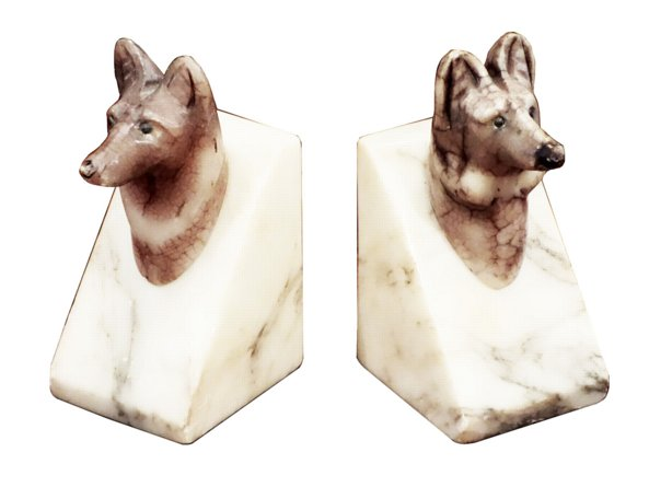 # 5286 Pair of Wolf Head Bookends