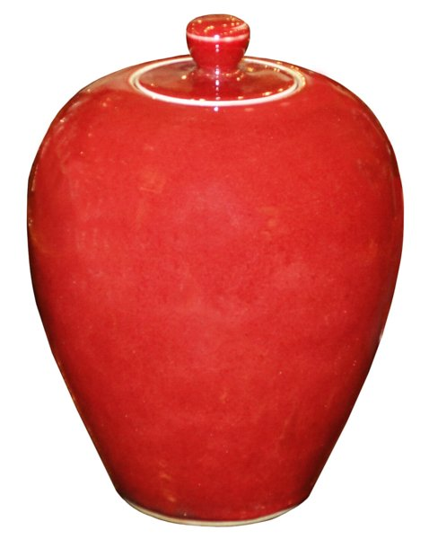 # 5373 Tall Red Ginger Jar with Lid