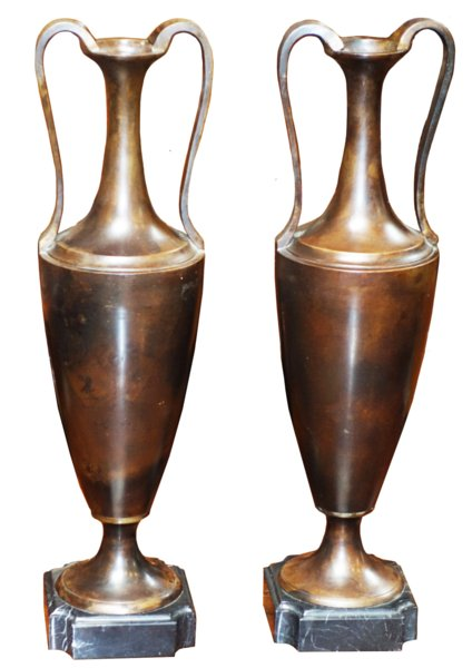 # 5421 Paiar of Bronze Urns with Handles