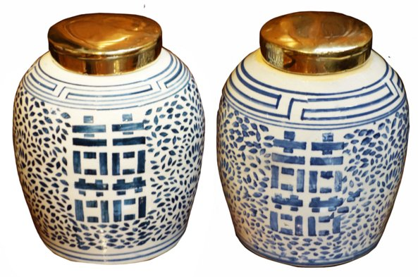 # 5479 Pair of Happiness Ginger Jars with Brass Lids
