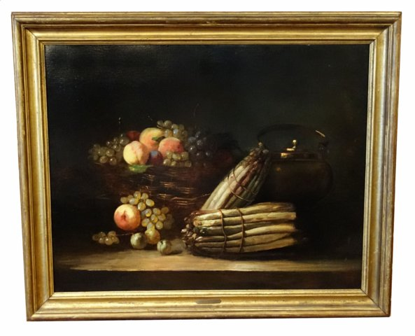 # 3214 Still Life (Fruit and Asparagus) by Brunel de Neuville, Alfred-Arthur